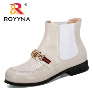 ROYYNA New Designers Popular Ankle Boots Women 2019 Autumn Spring Round Toe Woman Booties Lower Heels Shoes Women Footwear