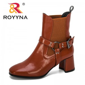 ROYYNA 2019 New Designers Popular Ankle Boots Lady High Heel Boots Wedding Party Formal Dress Shoes Women England Style Footwear