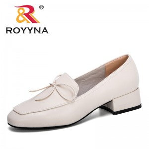 ROYYNA 2020 New Classics Ol Office Ladies Shoes Bowtie Slip on Shoes Women Round Toe Pumps Feminimo Low Heels Dress Shoes Trendy