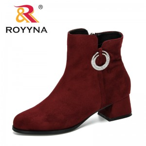 ROYYNA 2019 New Designers Woman Boots Autumn Winter Shoes Women Block Heel Flock Short Ankle Boots Lady Casual Shoes Comfortable
