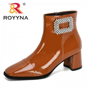 ROYYNA 2019 New Designers Zipper Boots Woman Botas Ankle Botines Crystal High Heels Patent Leather Martin Booties Feminimo Comfy