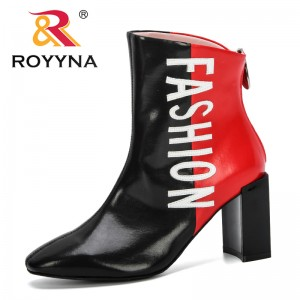 ROYYNA 2019 New Designers Fashion Style Round Toe Ankle Boots Women High Heels Shoes Woman Microfiber Female Boots Comfortable