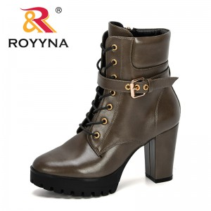 ROYYNA 2020 New Designers High Heel Ladies' Autumn Boots Lace Up Zip Platform Mid-Calf Boots Ladies Fashion Shoes Feminimo Comfy