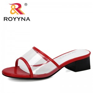 ROYYNA 2020 New Designers Outdoor Sandals Women Open Toe High Heels Women Transparent Slippers Shoes Square Heel Clear Sandals