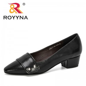 ROYYNA 2020 New Designers Microfiber Loafers Pointed Casual Low-Heeled Women Pumps Office Working Buckle Boat Shoes Feminimo