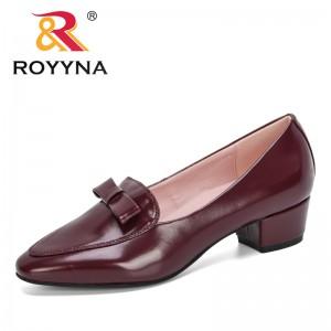 ROYYNA 2020 New Classics Popular Bowknot Shiny Block Chunky Low Heels Single Shoes Woman Round Toe Pumps Ladies Zapato Mujer