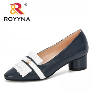 ROYYNA 2020 New Designers Microfiber Dress Shoes Women Office Lady High Heels Shoes Woman Heeled Pumps Ladies Shoes Comfortable