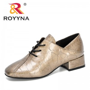 ROYYNA 2020 New Designers Med Heels Oxfords Women Pumps Round Toe Solid Shoes Woman Lace Up Ladies Casual Work Wearing Shoes