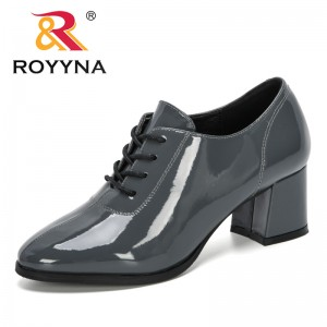 ROYYNA 2020 New Designers Women Pumps Microfiber High Heel Shoes Ladies Round Toe Lace-Up Casual Shoes Feminimo Working Footwear