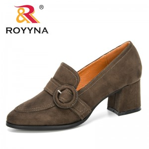 ROYYNA 2020 New Designers Heels Sexy Women's Pumps Elegant Office Shoes Ladies Flock Buckle Dress Shoes Feminimo Wedding Shoes