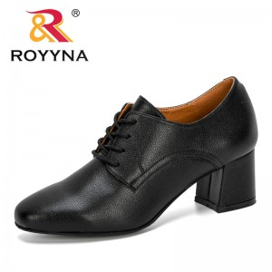 ROYYNA 2020 New Designers College Style Shoes Women Retro Round Head High Heel Pumps Ladies Lace-Up Casual Single Women Footwear