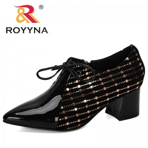 ROYYNA 2019 New Designer Fashion Pumps Women Hoof Heels Ladies Work Leather Shoes Lace Up Pointed Toe Woman Shoes Zapatos Mujer