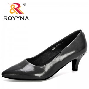 ROYYNA 2020 New Designers Microfiber Pointed Toe Pumps Women Dress Heels Boat Shoes Ladies Shadow Wedding Shoes Zapatos Mujer