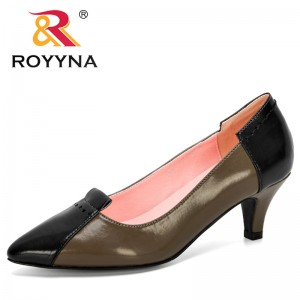 ROYYNA 2020 New Designers Popular Style Pointed Toe Pumps Women Lower Heels Boat Shoes Woman Wedding Shoes Shallow Ladies Trendy