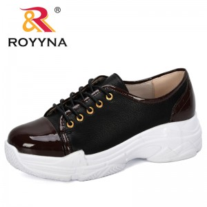 ROYYNA 2019 New Designers Fashion Women Sneakers Lace Up Shoes Casual Shoes Ladies Microfiber Woman Flats Leisure Footwear Comfy