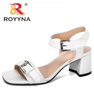 ROYYNA 2020 New Trendy Style Women Fashion Solid Shoes Sandals High Heel Buckle Strap Roman Shoes Ladies Summer Footwear Comfy