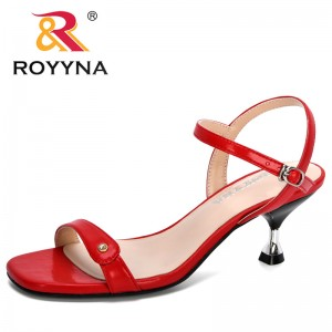 ROYYNA 2020 New Designers Popular Sandals Women Ankle High Heels Block Party Open Toe Summer Shoes Woman Comfortable Footwear