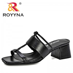 ROYYNA 2020 New Designers Microfiber Peep Toe Women Slippers Flip Flops Woman Flat Sandals Beach Shoes Ladies Leisure Footwear