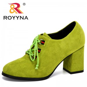 ROYYNA 2020 New Designers Classic Style Flock High Heels Shoes Women Round Toe Wedding Women Dress Shoes Office Working Footwear