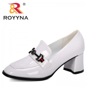 ROYYNA 2019 New Designers Dress Shoes Women Round Toe Pumps High Heels Shoes Woman Metal Buckle Band Boat Shoes Feminimo Trendy