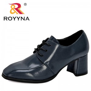 ROYYNA 2020 New Designers Round Toe Pumps Woman Lace Up Dress Shoes Women Microfiber Footwear Zapatos Mujer Ladies Boat Shoes