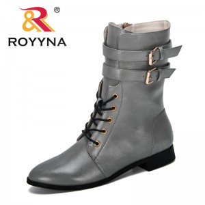 ROYYNA 2019 New Designers Mid-calf Boots Women Shoes Military Boots Women Long Boots Lady Fashion Booties Microfiber Footwear