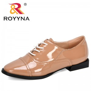 ROYYNA 2020 New Designers Popular Style lace-up Trendy Shoes Women Spring Autumn Dress Shoes Woman Pumps Oxfords Ladies Footwear