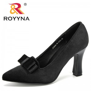 ROYYNA 2020 New Designers Fashion Style High Heels Shoes Women Wedding Shoes Bowknot Thick High Heels Fashion Party Pumps Ladies