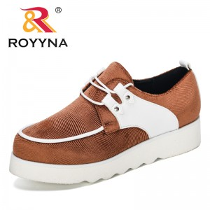 ROYYNA 2019 New Designers Popular Round Toe Fashion Autumn Women Flats Sewing Lace Up Female Flat Dress Shoes Platform Footwear