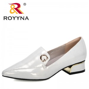 ROYYNA 2020 New Designers Microfiber Office Ladies Pumps Slip on Shoes Pinted Toe Women Low Heels Dress Shoes Wedding Shoes