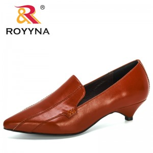ROYYNA 2020 New Designers Popular Style Solid Color Party Lower Heel Shoes Womem Sexy Pointed Toe Office Pumps Ladies Footwear