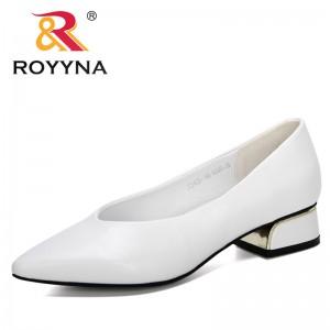 ROYYNA 2020 New Designers Microfiber Lower Heel Shoes Women Fashion Pointed Toe Pumps Woman Metal Heels Working Footwear Ladies
