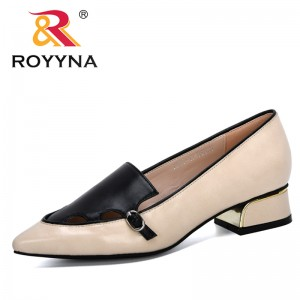 ROYYNA 2020 New Designers Party Wedding Sexy Shoes Women High Quality Outside Lower Heel Pumps Pointed Toe Single Shoes Ladies