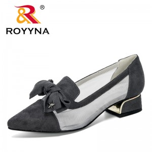 ROYYNA 2020 New Designers Butterfly-Knot Heels Sandals Woman Dress Shoes Pumps Summer Mesh Woman Shoes Comfortable Zapatos Mujer