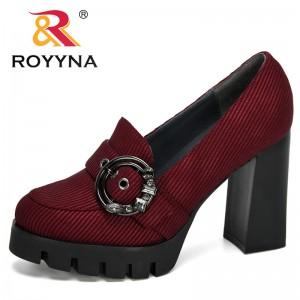 ROYYNA 2020 New Designers Popular Pumps Women Fashion Classic Flock High Heels Shoes Ladies Round Head Paltform Wedding Shoes