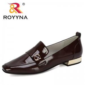 ROYYNA 2019 New Designers Leather Pumps Shoes Women Summer Autumn Square Toe Casual Office Lady OL Shoes Woman Wedding Shoes