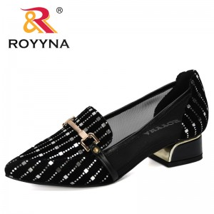 ROYYNA 2019 New Designers Shallow Color Women's Flock Thick High Metal Heels Shoes Feminimo Working Shoes Ladies Wedding Shoes