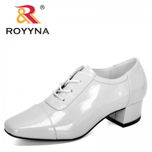 ROYYNA 2019 New Designers Microfiber Shoes Women Casual High Heels Female Sweet Lace Up Boat Shoes Working Shoes Ladies Trendy