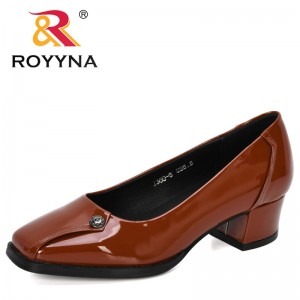 ROYYNA 2019 New Designers Square Toe Heels Shallow Patent Leather Spring Autumn Pumps Shoes Mujer Trendy Ladies Wedding Shoes
