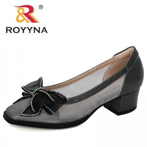 ROYYNA 2020 New Designers Mesh Heels Shoes Women Square Toe Woman Pumps Fashion Casual Ladies Office Shoes Women Sandals Trendy