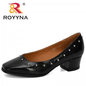 ROYYNA 2020 New Designers Metal Color Shiny Block Chunky Heels Single Shoes Woman Square Toe Trendy Pumps Women Zapato Mujer