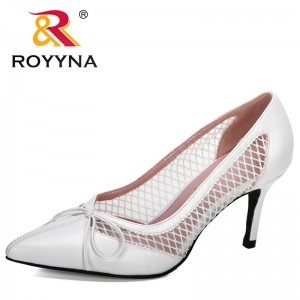 ROYYNA 2020 New Designers Mesh Ladies Casual Pointed Toe High Stilettos Heels Pumps Feminine Mujer Sandals Shoes Comfy Footwear