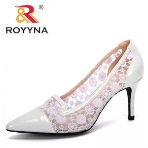 ROYYNA 2020 New Designers Mesh Breathable Pumps Women Pointed Toe High Heels Fashion Female Dress Shoes Elegant Footwear Trendy