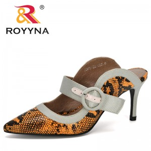 ROYYNA 2020 Sandals 2019 New Arrival High Heel Sandals Slippers Women Slip On Pointed Toe Sandals Casual Outdoor Slippers Woman
