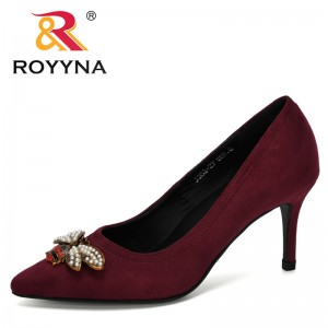 ROYYNA 2020 New Designers Fashion Style Pointed Toe Pump Women Dress High Heels Flock Shoes Woman Wedding Shoes Zapatos Mujer
